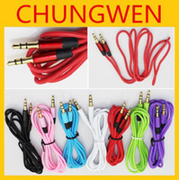 Wholesale mm AUX audio cables male to male Stereo Car Extension audio Cable for MP3 for phone colorful
