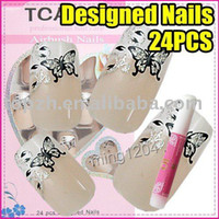 Full Natural Tips Square  Nail Tips Wholesale-MN-Best Selling Fast Shipping 24pcs set Butterfly Artificial Nail Art French Tip + Glue C241