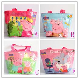 Wholesale 4 Colors Fashion Cartoon Peppa Pig Children Shoulder Bags Nylon Waterproof Kids Shopping Bags Girls Tutorial Bag Mummy Handbag