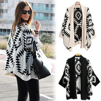 Women Regular V-Neck 2014 New Geometric Aztec Tribal Knit Open Long Sleeve Oversized Womens Tops Cardigan