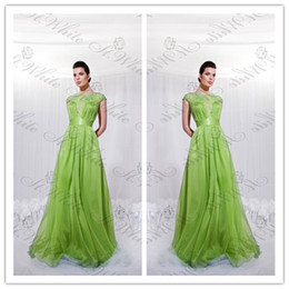 Wholesale 2014 Simple A Line Bateau Floor Length Sweep Train Applique Pleats Pick ups Zipper Green Chiffon Party Evening Homecoming Graduation Dresses