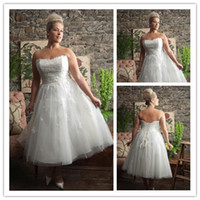 Custom Made Vintage 2014 Strapless Plus Size A- Line Wedding ...