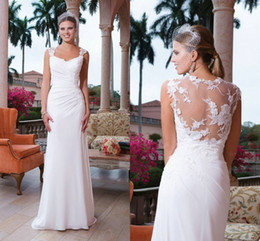 Wholesale 2015 Chiffon Sheath White Ivory Greek Goddess Beach Garden Wedding Dresses Lace Strap Illusion Backless Sweep Train Cheap Custom Made Gowns