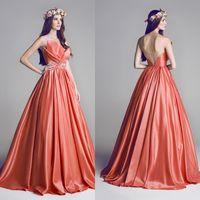 Wholesale 2014 New Evening Dresses V Neck Satin Hand Made Flowers Backless Floor Length Prom Dresses dhyz