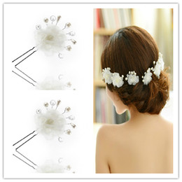 Wholesale Cute Bob With Flower Pearls Hot One Piece Wedding Bridal Hair Jewelry