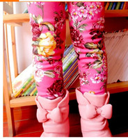 Leggings & Tights Girl Spring / Autumn 2014 Autumn and winter thicken with fleece children girl flower Soft tight leggings