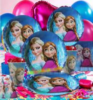 Wholesale 2014 New Arrival Hot Sale Fashion Festive Europe Frozen Anna Elsa Cartoon Children Party Suit Party Supplies Kids Party Decoration E0453