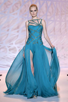 Reference Images Strapless Chiffon 2015 Sexy Zuhair Murad Evening Dresses Sheer Strapless A-Line Chiffon Beading Floor Length High Split Long Prom Formal Dresses Pageant Gowns