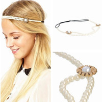 Wholesale Pearl Flower elastic headband with European and American fashion hoop LY FD012