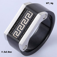 Wholesale Engagement Mens Stainless steel twisted cable ring IP balck with great wall pattern g size large men finger ring jewelry