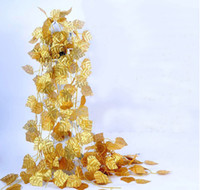 artificial feet - 24pcs feet Wired Gold Leaf Garland Silk Artificial Vine For Wedding Home Office