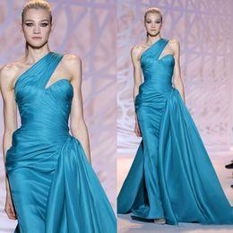 Wholesale 2015 Elegant Zuhair Murad Evening Dresses One Shoulder Ruffled Backless Elastic Satin Sheer Formal Prom Dress Beauty Pageant Dress Gowns New