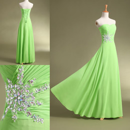 Wholesale 2014 Cheap Prom Dresses Sexy Green Chiffon Crisscross Pleated Sweetheart Beaded Floor Length Occasion Dresses with DHL TK303