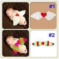 Unisex Cartoon Star Cotton Free shipping Cute Angel wings Handmade Crochet Baby accessories Newborn Photography Props Baby Costume Set