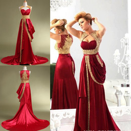 Wholesale Red Formal Evening Dresses Arabic Jajja Couture Embroidery Beaded high Neck Vestidos Prom Dresses Cheap Sexy Dress in Dubai TK304