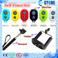 Wholesale Extendable Handheld Self Timer selfprotrait Monopod selfie stick Photograph Bluetooth Shutter Camera Remote Control camera cellphone HolderM