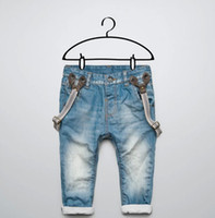Wholesale 2014 New Fashion Children s Suspender Long Jeans Cotton Jeans Kids Jeans Fashion Baby Boy suspender short pants