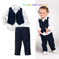 Wholesale Europe and America Fall Boy Gentleman Suit Shirt Waistcoat Pants Baby Casual Set Small Age Kids Sets Children Clothing GX831