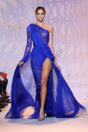 Wholesale Zuhair Murad New Floor Length Runway Blue Chiffon Party Dress Plus Size Evening Dresses Red Carpet