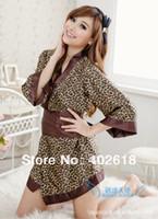 Wholesale Hot sexy Fashion ladies kimono Ladies Sexy dress Satin material Leopard print Free size