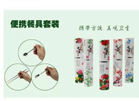 Wholesale EMS Chinese Tradition chopsticks Spoon Fork Stainless Steel Peony Flower Flowers Special Presents Flatwear Sets Set set E03