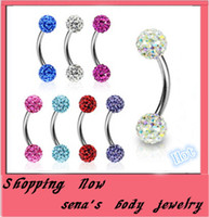 Wholesale E10 Shambhalla eyebrow ring mix color shamballa disco ball eyebrow stud piercing jewery Eyebrow bar