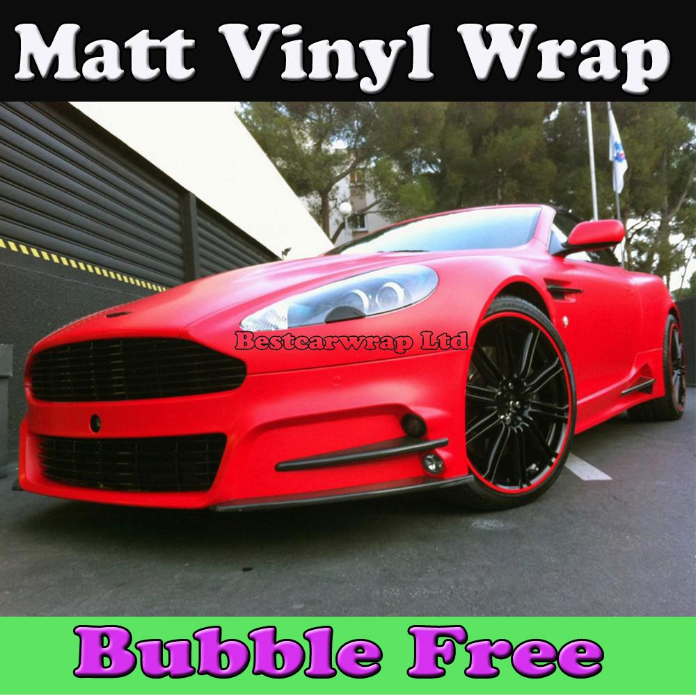 Red car sticker design - Matte Red Vinyl Wrap With Air Release Matt Vinyl Red Car Wrap Styling Covers Size 1 52x30m Roll 5x98ft