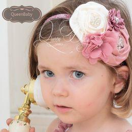 Double Satin Rosettes With Pearl Rhinestone Chiffon Flower Crystal Baby Girl Headbands Toddler Headband 15pcs lot