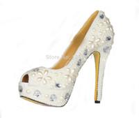 Wholesale Handmade New Bling Crystal Rhinestones Diamond White Pearls Ladies Peep Toe High Heel Wedding Pumps Bridal Shoes