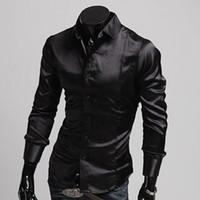 Casual Shirts Long Sleeve Silk-Like Satin Mens Luxury Formal T Shirt Tee Silk-Like Satin Comfy Shirts Casual Tops Sz S-XL CL5250