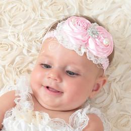 Baby Girl Headband Double Satin Rosette Headbands Lace Rhinestone Pearl Headbands Baby Luxe Headband 20pcs lot