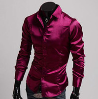 Casual Shirts Long Sleeve Silk-Like Satin 2014 New Mens Luxury Formal T Shirt Tee Silk-Like Satin Comfy Shirts Casual Tops for Gents Sz S-XL CL5250