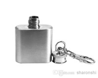 Wholesale Promotions Gift Portable oz Mini Stainless Steel Hip Flask Alcohol Flagon with Keychain Key Ring Chain Free Shippng With tracking