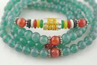 Wholesale Tibetan Mala Prayer Stretch Bracelets mm Green Agate Red Carnelian Carved Crystal Beads Fashion Jewelry Necklace