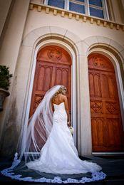 Wholesale Hot Bridal Veils T Regal Cathedral Long Bridal Hair Pieces Sequins Lace Edge Tulle Wedding Bridal Accessories X M Wedding Veils VE7