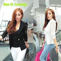 Women ladies white suits - 2014 New Top Coat Sexy Sheer Lace Blazer Lady Suit Outwear Women OL Formal Slim Jacket Black White M L XL