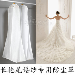 Wholesale White No Logo Sheer Wedding Favors Cover Air Drill Dust Bags For Sweep Train Wedding Dresses In Stock Dust Industrial High Bay