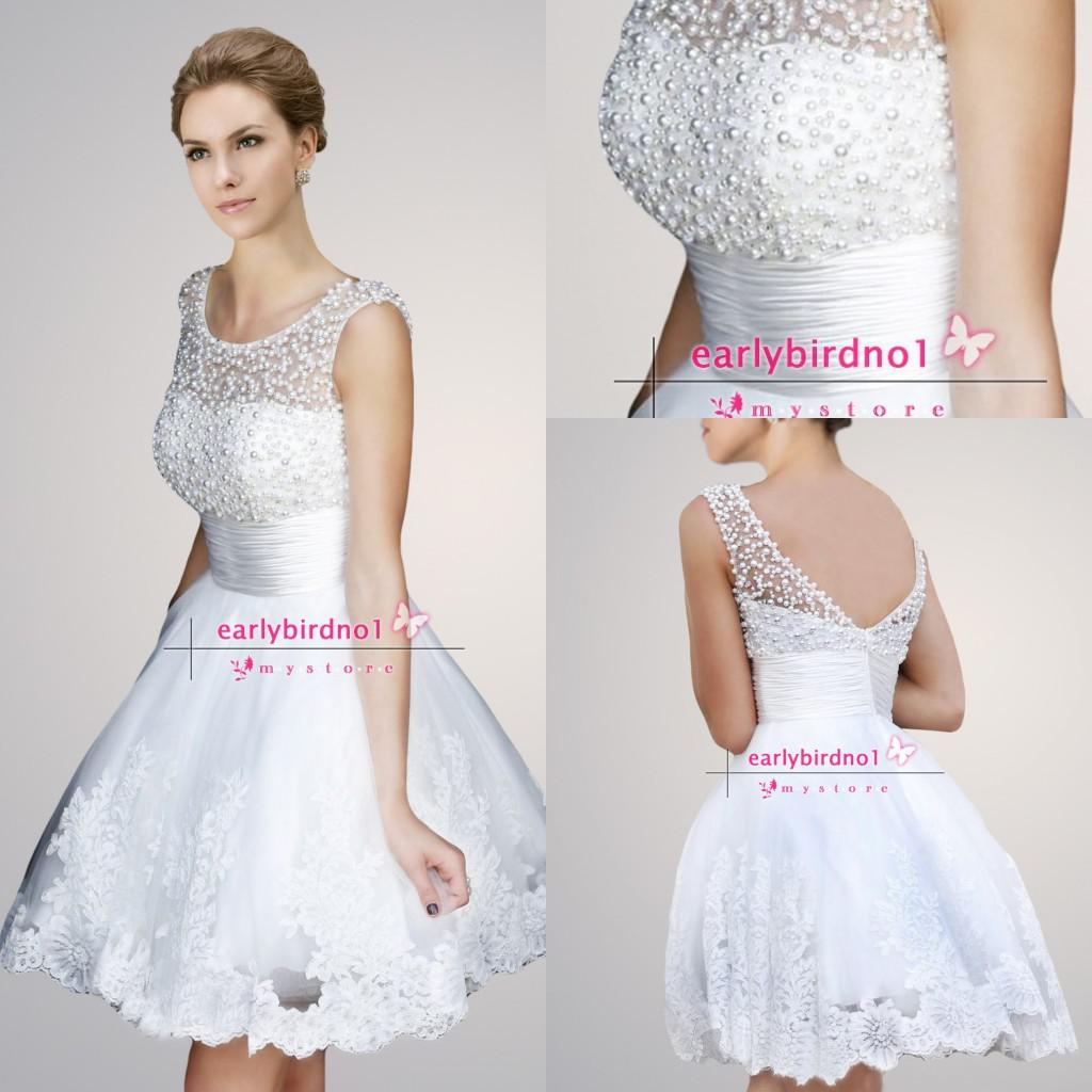 Pearl White Prom Dresses 2014 White Short Prom Dresses