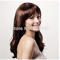 Cheap COLORONE Capless Long Curly Brown Heat-resistant Fiber Wig Full Bang beautiful big wavy party wigs FC140569