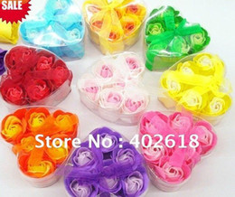 Wholesale 10Pcs Hot sale flower soap heart gift box natural soap mixed color bath soap for lover