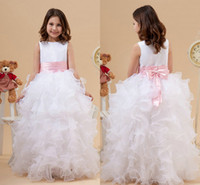 Model Pictures Girl Bow 2015 Cute White and Pink Organza Ball Gown Casual Wedding Guest Bridal Party Flower Girls' Dresses Cascading Ruffles Cheap Little Girls Gown