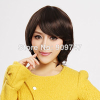 Synthetic Hair Wig,Half Wig SMD COLORONE Capless Short High Quality Synthetic Dark Brown Wig HCWG001 short heat-resistant Synthetic party wigs