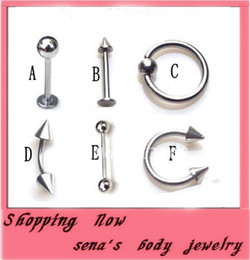 Body Jewelry Piercings Stainless Steel Rhinestone Belly Rings Tongue Lip Piercing Mix Lots