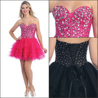 Reference Images Tulle Sweetheart Black Mini Homecoming Gowns Corset Back Rhinestones Tiers Tulle Short Prom Party Dress with Sweetheart Necklines A Line Fuchsia 2014 ln