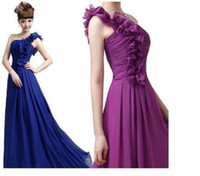 Cheap Free Shipping Chiffon One-Shoulder Evening dresses Sexy Party Dress The Greek Goddess Dress 11 Colors Plus size JY-027