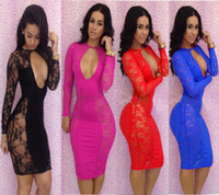 Wholesale 2014 Autum women s clothing Sexy and club colpus hollow out sheath evening night bar Package buttocks long sleeves lace dress