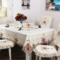 Wholesale European Beige Embroidered Lace Tablecloth Tea Table Cloth Tablecloths Home Textile Round And Square Selectable Multiple Sizes