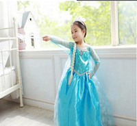 Girl Movie Star  Frozen dress costumes long sleeve skirt Princess Elsa party wear clothing Crown Magic Wand sticks for Halloween Saints'Day free shipping