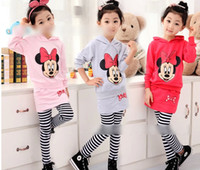 Wholesale Cartoon Miki Minnie Children Sets Autumn Long Sleeve Hoodie Long Pants Kids Clothing Mouse Childs Boys Girls Stripe Sets H1146