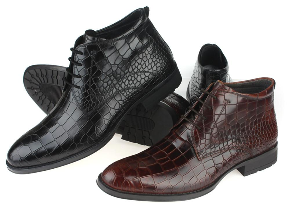 Fashion Brown / Black Mens Ankle Boots Genuine Leather Motorcycle Boots Office Shoes Boots Mens ...